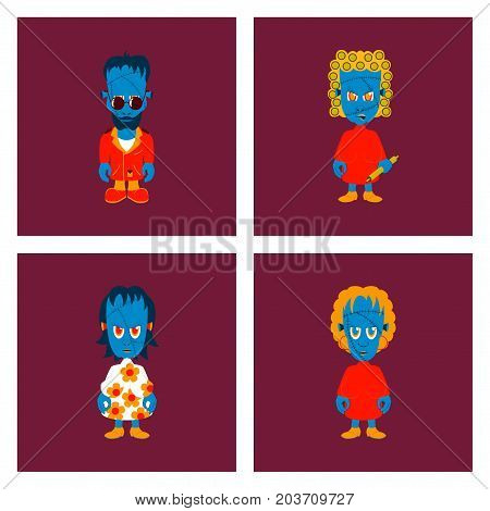 assembly of flat illustration halloween zombie family