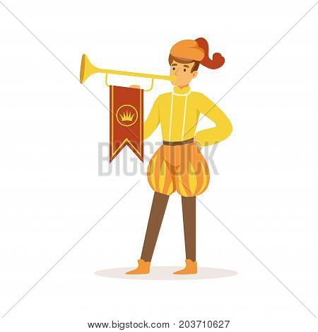 Herald playing a trumpet, European medieval character in traditional costume colorful vector Illustration on a white background