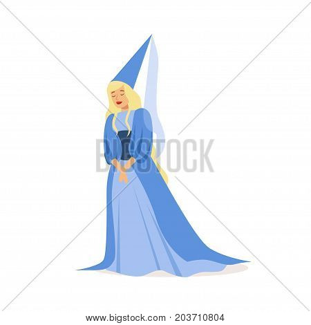 Beautifull princess in a blue ball dress and pointed hat, fairytale or European medieval character colorful vector Illustration on a white background