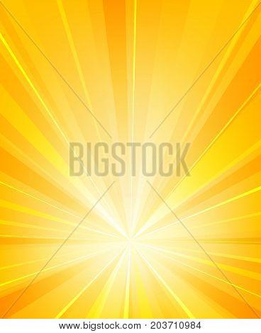 Shiny sun rays radiator background. Burst sunlight with radiating heat beams summer vector illustration