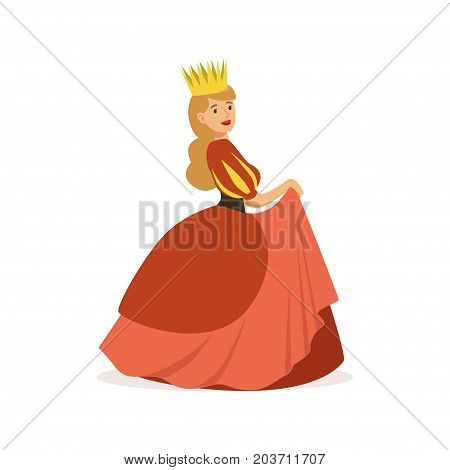 Beautiful majestic queen or princess in red dress and gold crown, fairytale or European medieval character colorful vector Illustration on a white background