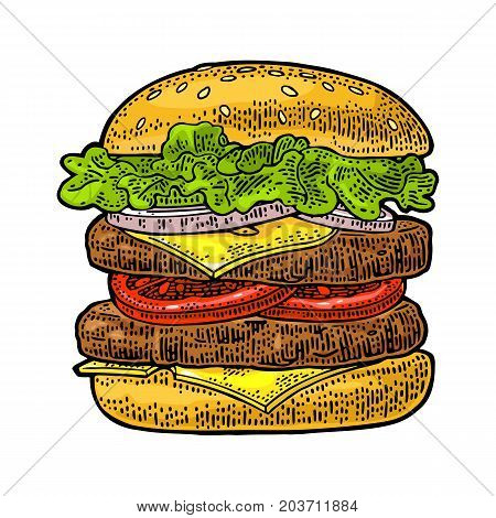 Double burger include cutlet tomato onion and salad isolated on white background. Vector color vintage engraving illustration for poster and menu