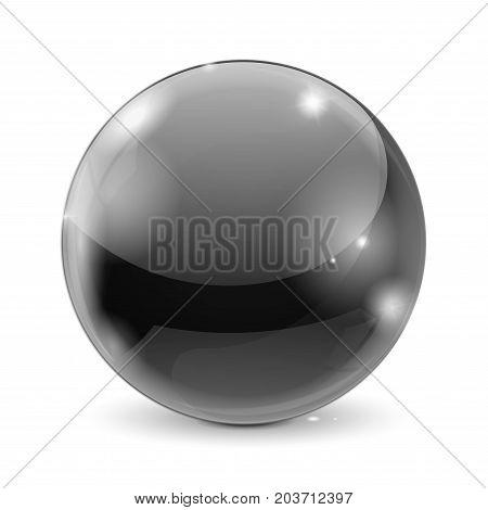 Black glass ball. Shiny sphere. Vector 3d illustration isolated on white background