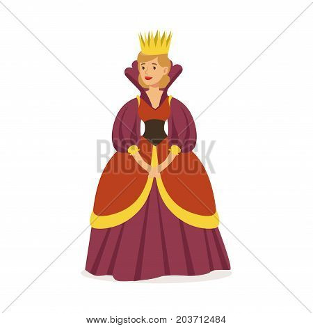 Majestic queen in purple dress and gold crown, fairytale or European medieval character colorful vector Illustration on a white background