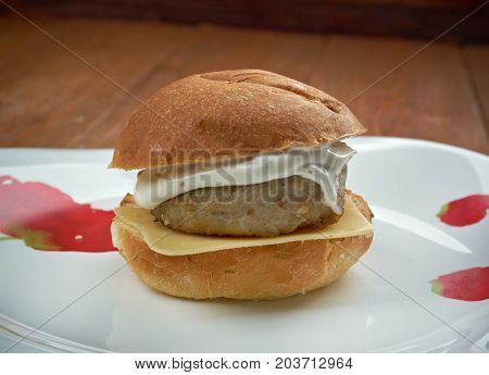 homemade Filet-O-Fish sandwich , close up meal