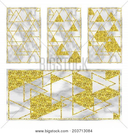 Marble black background with golden geometry. Trend colors