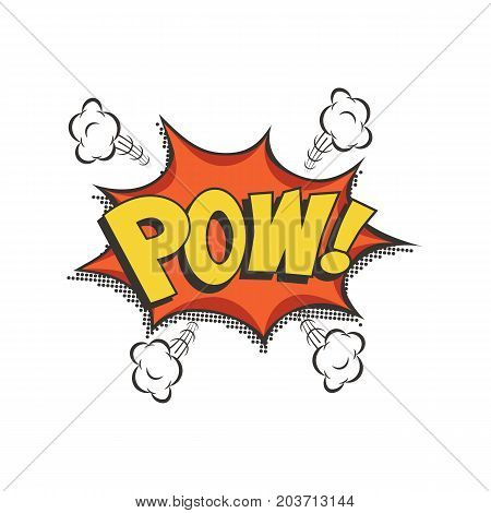 Vector isolated sound effect puff cloud icon. Pow comic text speech bubble.