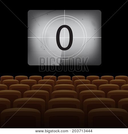 Vector movie theatre background with vintage screen and yellow chairs.