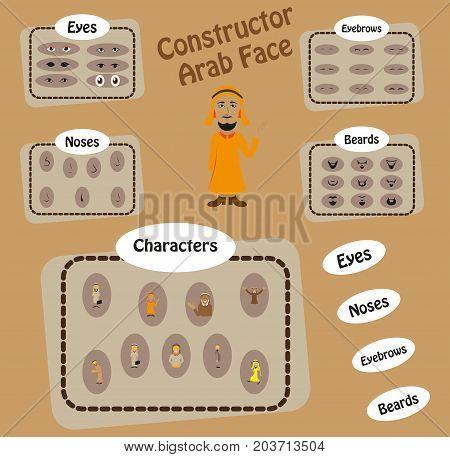 Man face emotions constructor parts eyes, nose, lips, beard, mustache avatar creator cartoon character