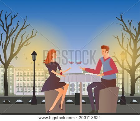 Young couple in love, romantic dinner outdoor. Young man and woman on a date in the street of the old town. Vector illustration.