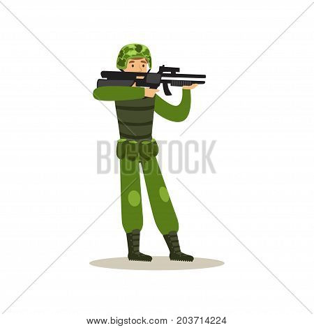 Infantry troops soldier character in camouflage combat uniform holding an automatic assault rifle vector Illustration on a white background