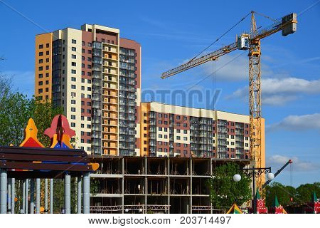 Khimki, Russia - May 30.2017. Construction of residential buildings in the Levoberezie district