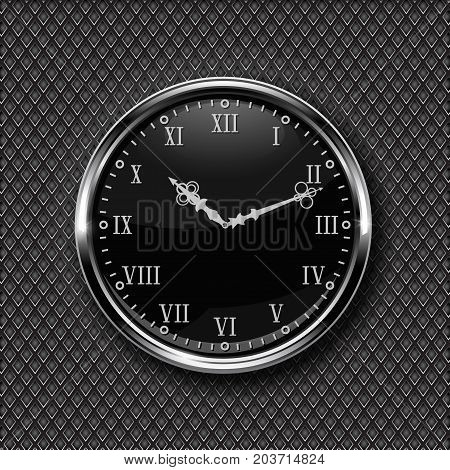 Clock. Black round clock with roman numerals. Vector illustration on metal perforated background
