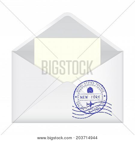 Open envelope with New York stamp and letter inside. Vector 3d illustration isolated on white background