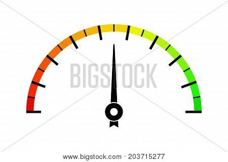 Colored measuring semi-circle scale. For industrial gauges. Vector illustration isolated on white background