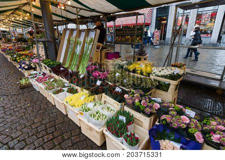 MAASTRICHT NETHERLANDS - JANUARY 09 2015: Sales of fresh flowers in the market square in the historic center. Maastricht is the oldest city of the Netherlands and the capital city of the province of Limburg.