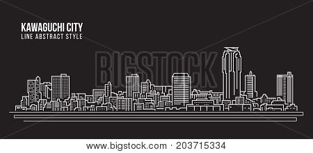 Cityscape Building Line art Vector Illustration design - Kawaguchi city