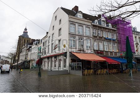 MAASTRICHT NETHERLANDS - JANUARY 09 2015: The streets and squares in the historic center. Maastricht is the oldest city of the Netherlands and the capital city of the province of Limburg.