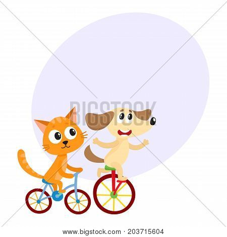 Cute little dog and cat, kitten characters riding bicycles together, cartoon vector illustration with space for text. Baby dog and cat, kitten animal characters riding bicycles, cycling