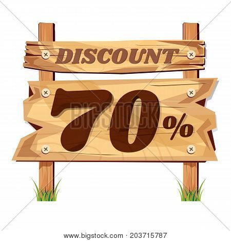 wooden sign board. sale discount 70%. Sale signboard. surface. vector. on white background