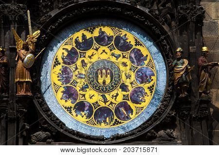 Astronomical Clock At Old Town Square In Prague, Czech Republic