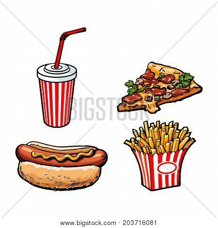 Vector sketch potato fry, french fries on striped paper box, soft cold drink disposable cup with straw, lid hot dog pizza slice set. Hand drawn cartoon isolated illustration on a white background.