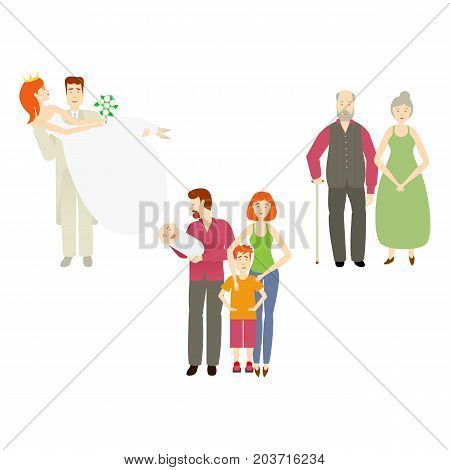 vector flat couples characters setset. Isolated illustration ona white background. Newlywed couple groom holds bride in hands, grey-haired couple and adult couple with baby infant and boy kid.