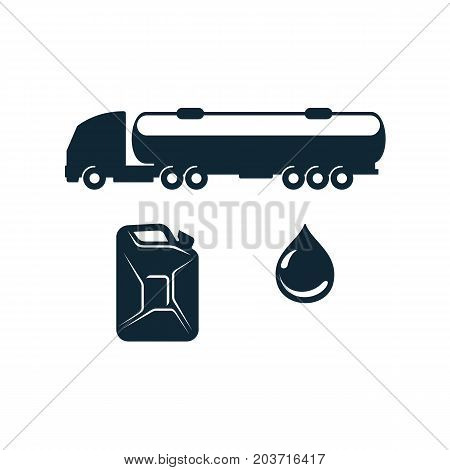 vector gasoline tanker truck vehicle , oil drop, petroleum canister set simple flat icon pictogram isolated on a white background. Gas oil fuel, energy power industry symbol, sign