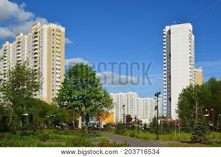 Khimki, Russia - May 30.2017. Eco-friendly Levoberezhny district in city