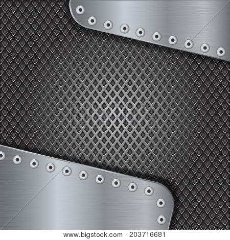 Metal perforated sketch with steel plates. Vector 3d illustration