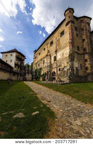 BANSKA STIAVNICA, SLOVAKIA - AUGUST 18, 2017: Town castle in Banska Stiavnica in central Slovakia on August 18, 2017.