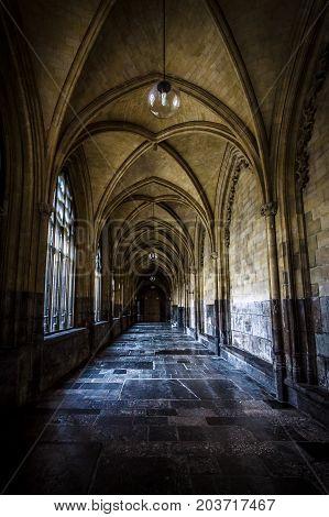 MAASTRICHT NETHERLANDS - JANUARY 09 2015: Interior of Basilica of St. Servatius. Stylization. Vintage toning. The Basilica of St. Servatius is a oldest Roman catholic church the Netherlands.