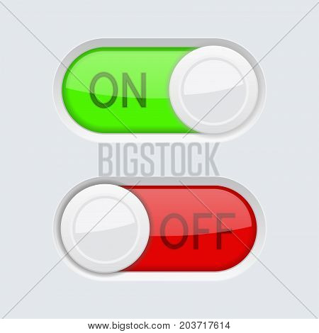 Toggle switch buttons. ON and OFF. Vector 3d illustration