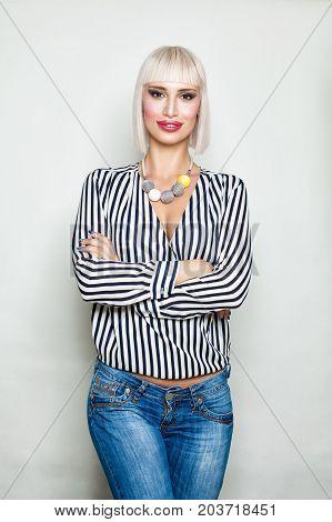 Fashion Blonde Woman Model Bob Haircut Striped Cloth