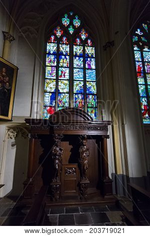 MAASTRICHT NETHERLANDS - JANUARY 09 2015: Stained-glass windows. Interior of Basilica of St. Servatius. The Basilica of St. Servatius is a oldest Roman catholic church the Netherlands.