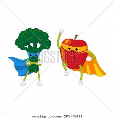 vector flat cartoon fruit, vegetable character in cape, mask set. Broccoli standing with hands crossed on chest, apple flying like superman. Isolated illustration on a white background.