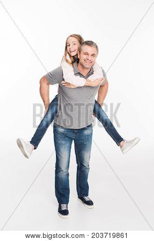 Father Piggybacking His Daughter