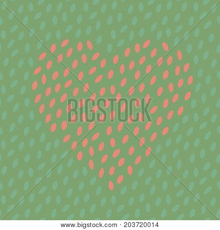 Abstract spotted seamless pattern with heart. Simple dotted heart shape background