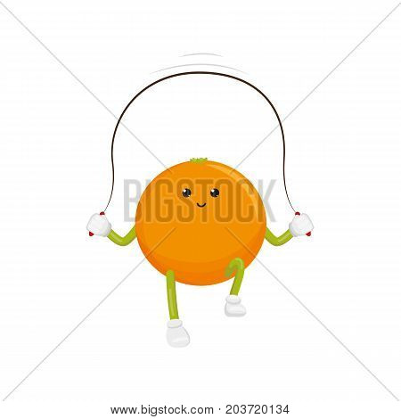 vector flat funny orange character jumping at rope. Cheerful humanized fruit makes exercises with skipping rope. Isolated illustration on a white background. Healthy, sportive lifestyle concept