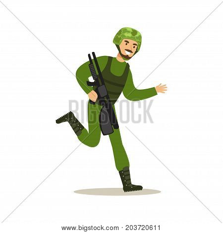 Infantry troops soldier character in camouflage combat uniform running with automatic assault rifle vector Illustration on a white background