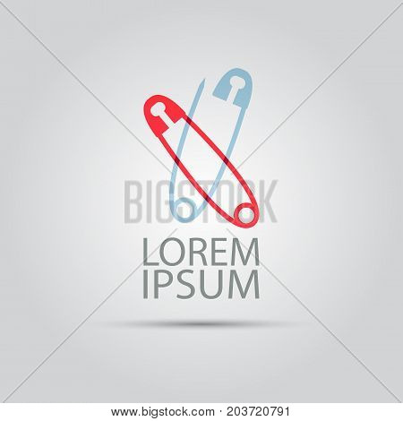 two crossed safety pin isolated vector abstract colored logo template for company