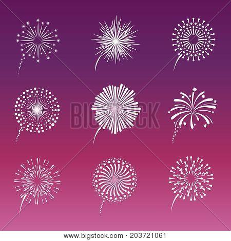 White fireworks collection on pink background. Decoration effect light firework. Vector illustration