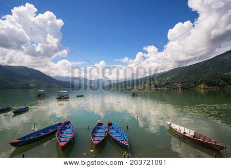 Colorful Boats At The Phewa Lake, Pohara, Nepal