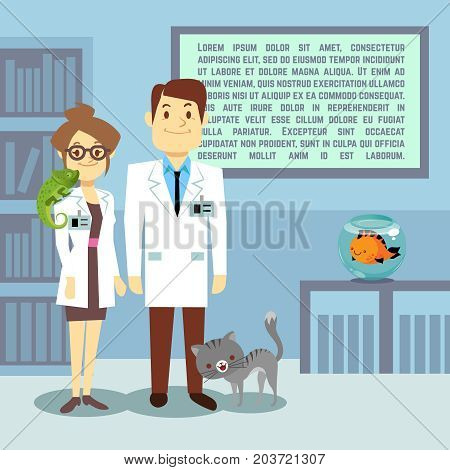 Flat veterinary office with doctors and animals. Medical office hospital, vector illustration