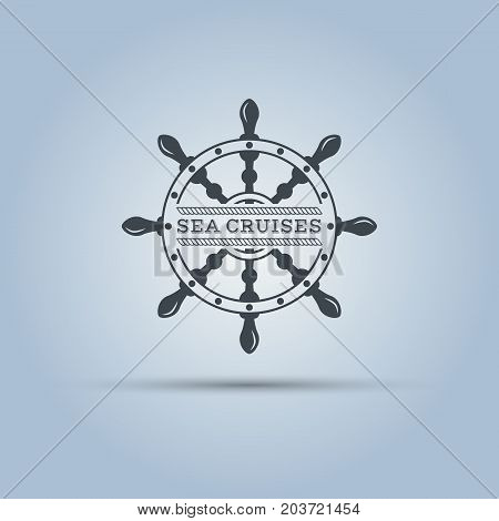 marine helm wheel isolated vector label template