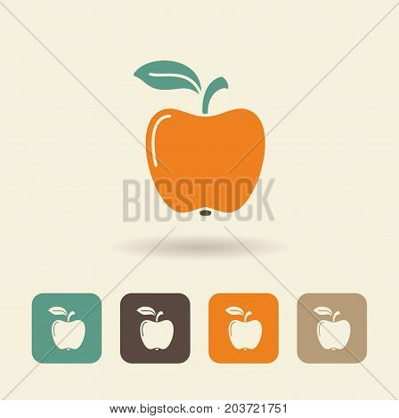 Simple flat icon Apple with shadow. Vector Illustration