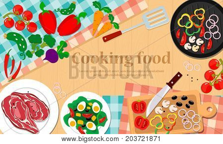 Food and cooking. Set with vegetables and  kitchenware on wooden table. Vector illustration.