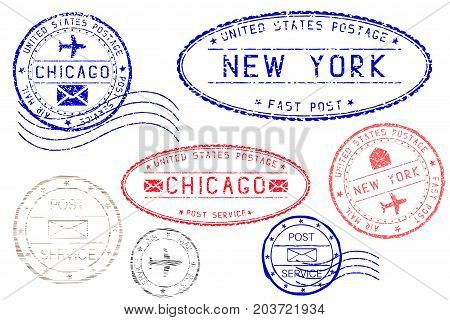 Postmarks NEW YORK and CHICAGO. Blue and red ink postal elements. Vector illustration isolated on white background