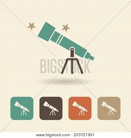 . Single flat icon telescope and stars. Vector logo