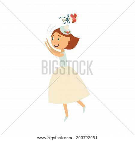 vector flat cartoon bride wearing white dress, veil throwing her bouquet in air smiling. Illustration isolated on a white background. Wedding, marriage concept character design